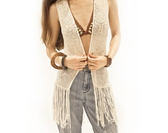 1980s Janis: Crochet Knit Fringe Vest in Cream > ONESIZE