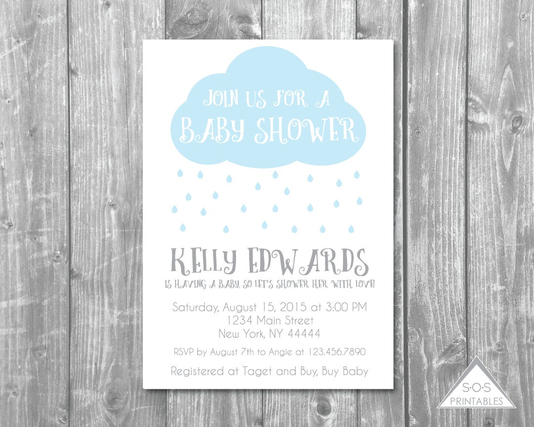 rain cloud baby shower invitation raindrops rain drops
