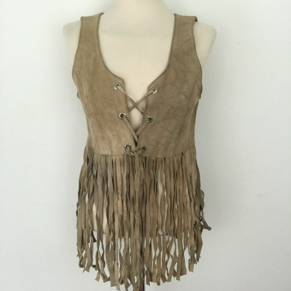 1970s Suede waistcoat fringed vest cream grey suede leather long 70s waist coat hippy boho top tasselled leather trim festival style hippy
