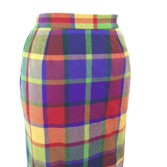 Plaid skirt jewel tone tartan pencil skirt classic vintage straight cut 50s pin up UK 14 high waist 1950s sexy secretary Mod Bad Girl