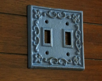 Double Light Switch Plate Cover/ Shabby Chic Switchplate Cover/ Cast Iron / Fleur de Lis Design / Wildflower Blue or Pick Color