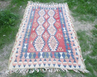 Vintage Turkish Kilim Rug Pastel Color 88 x 53 inches