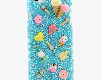 iphone 6/6s Plus SE 5/5s 5C 4/4s Samsung Galaxy S3 S4 S5 S6 S7 E7 Note Edge / Handcrafted 3D Case Cover Cute Sweets Treats blue pearl_831
