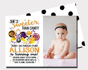 Halloween Birthday Invitation | Candy Birthday Invitation | Candy Corn Invitation | Fall Birthday Invitation | Sweet Celebration