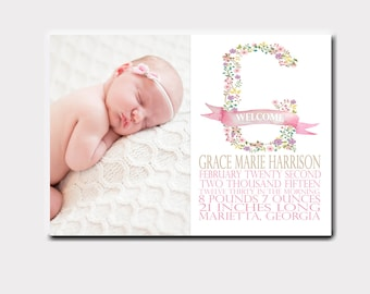 Floral Letter Baby Birth Announcement