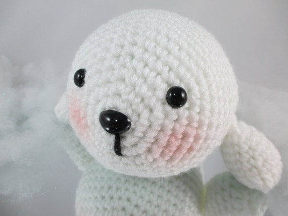 Stuffed Baby Seal Pup Crochet White Seal Toy Seal Amigurumi