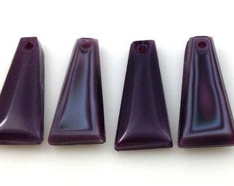 4 Vintage Purple Drop Glass Beads 20mm