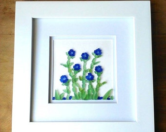 Cornflower & cobalt sea glass flowers// Sea glass art// Ocean tumbled