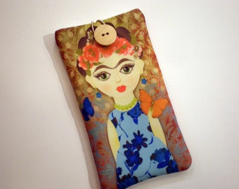 iPhone 8 case, Galaxy S8 sleeve, Cell phone case, HTC sleeve, Huawei P10 case,  Moto sleeve, One Plus case, Smartphone case, Frida Kahlo