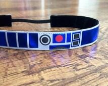 R2-D2 inspired Star wars noslip headband. headband, half marathon, running, headband, workout, athletic, girl's, women's, hair, accessory