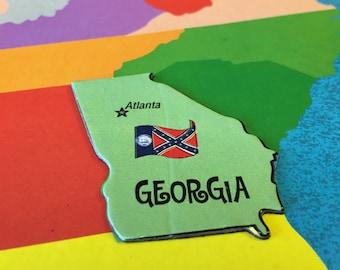 5 magnetic GEORGIA puzzle pieces