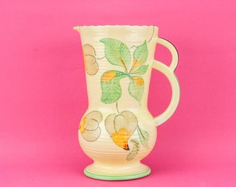 Pottery Vintage JUG Floral Lemonade Fieldings Unique Spectacular Art Deco Yellow Large Juice English 1930s Gift