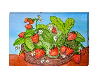 "Sweet Summer Strawberries Canvas Print 12""X18"""