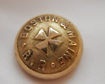 Boston & Maine Railroad Uniform Button - Cover Patd Aug 3 1886