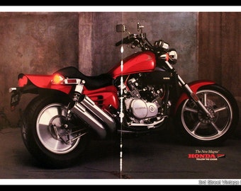 vintage honda motorcycle ads. 1987 honda motorcycle ad with red magna model wall art home decor bike vintage ads a