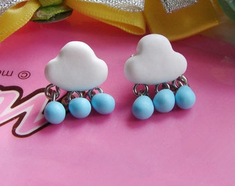 rainy cloud earring studs