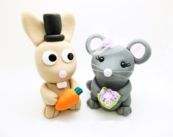 Rabbit+Mouse wedding cake toppers