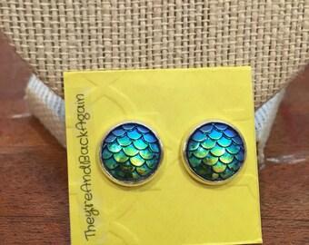 10mm Silver Metallic Blue&Green Mermaid Skin Stud Earrings