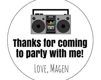 12 Boom Box Stickers, Stereo, 80s Theme, Rocking Out, Party with Me, 80s Party, 80s Birthday, Boom Box Theme, Music Birthday, Stereo Labels