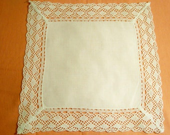 Square Linen / Cotton Doily With Crocheted Band - Cecelia-Marie - 132