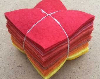 Felt Tower, 24 pieces of Hand Dyed Wool and Viscose Felt, Reds, Oranges and Yellows