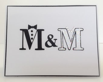 Handmade Wedding Card, Wedding Card, Bridal Shower Card, Husband Wife Card, Mr & Mrs Card, Tuxedo Card, Wedding Jewelry, Married Couple Card