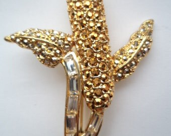 Vintage Signed Danecraft Sparkling Goldtone/Silver Bead Corn on the Cob Brooch/Pin