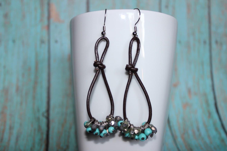 leather knot earrings cord earrings bead cluster earrings