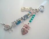 porte-clés bleu pour tricoteuses - Bijou de sac -