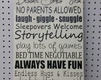 Grandma & Grandpa's House Rules Sign - Custom quote welcome  Sign Quote Sign House Rules Wood sign Black lettering white board