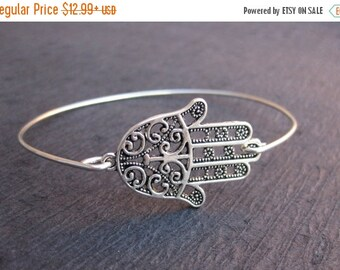 FREE SHIPPING & 5% OFF Sterling Silver Hamsa Bangle Bracelet, Hand of Fatima Yoga Bracelet, Yoga Jewelry, Protection Jewelry, Star of David,