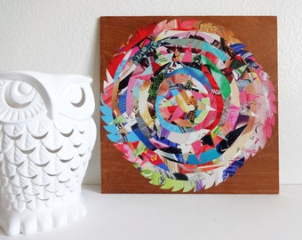 Modern Rustic Wooden Wall Decor / Mixed Media / Gifts Under 50 / Paper Collage / Upcycled Wall Art / Reclaimed / Funky Farmhouse / Clearance