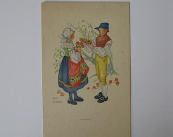 Aina Stenberg - Artist Signed Post Card - Blekinge, Sweden - Traditionally Dressed Couple - Unused - 1920s