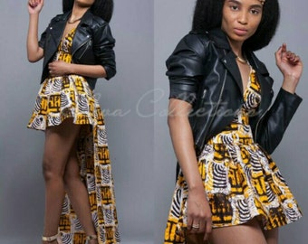 Yellow, Black, Gray and white African Ankara Print Plunging Crop Top, African High Low Skirt, High waist african skirt, African print dress