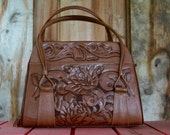 Vintage Tooled Floral Leather Clutch Purse