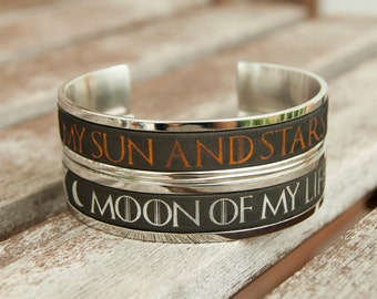 Game of Thrones Gifts Game of Thrones Jewelry Gift for Couples Bracelet Khal and Khaleesi Cuff Moon of My Life My Sun and Stars Couples Gift