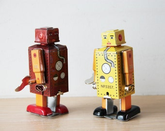 Vintage robot toy, tin robot wind up toy in brown and orange, collectible, walking robot toy, Chinese, robot clockwork toy, late eighties
