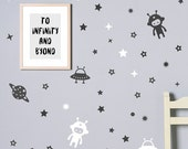 Space Wall Decal / Planets Wall Decals / Boys wall decal / Outer Space / Decal for Nursery / Space Wall Stickers / Stars decal / Astronaut