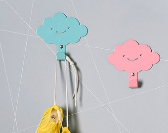 Two Cute Smily Clouds Children's Wall Hooks / Rainy Nursery Wall hangers /  Kid's Towel Racks