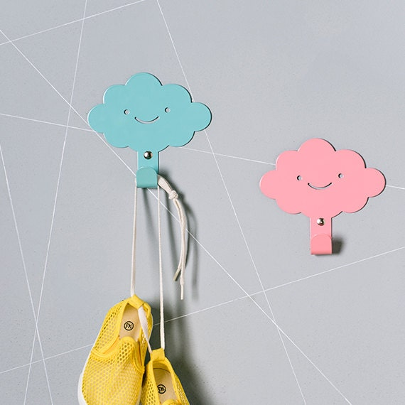 Kids Bedroom Hooks two cute smily clouds children's wall hooks / rainy