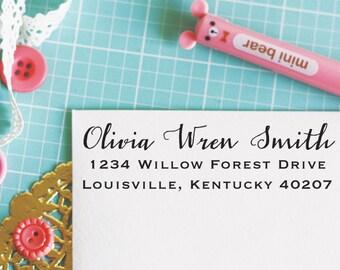Custom Personalized Address Stamp - OLIVIA Style