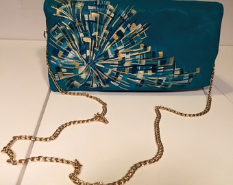 Teal foldover clutch