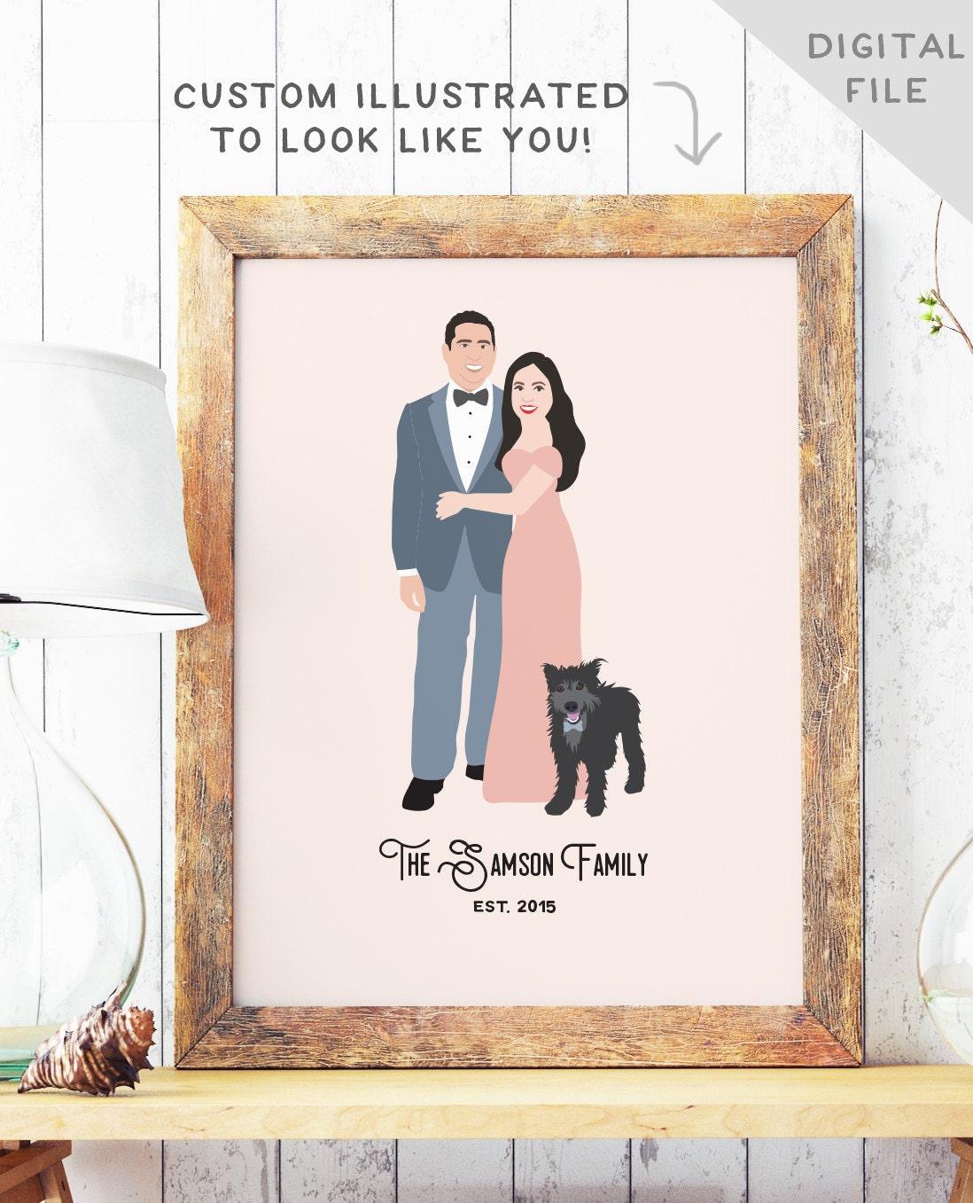 St anniversary gift th couple portait