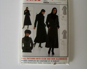 Burda 8598 Sewing Pattern Classic Double Breasted Coat Semi Fitted Coat Misses Winter Coat Long Coat Pattern Size 8 10 12 14 16 18 20 UNCUT