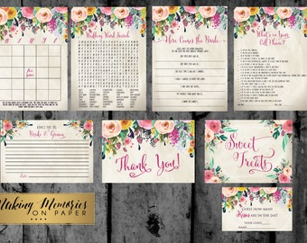 Floral Bridal shower Games, Sublime Bridal Shower Games,  Wedding Shower, invite,watercolor sublime,  shabby chic, sfc