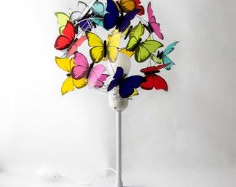 Bedside lamp with Butterflies-Room light,Kids Decor,Nursery,butterfly lover, fun light,decorative light