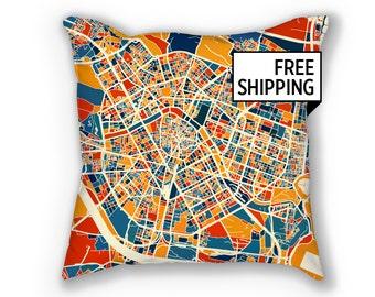 Valencia Map Pillow - Spain Map Pillow 18x18