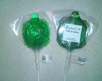 1 dz Hard Candy Turtle Shaped Lollipop Party Favors w/ Personalized Back Labels, shell-abration