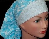 Shimmering Light Blue and Silver Winter Snow Bouffant or Pony Tail Medical Surgical Scrub Hat Cap
