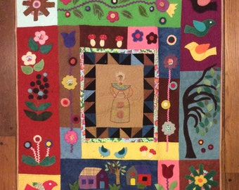 Country style - Lady, cotton -wool mix appliqué, quilt art, quilted wall hanging, home decor, fabric art